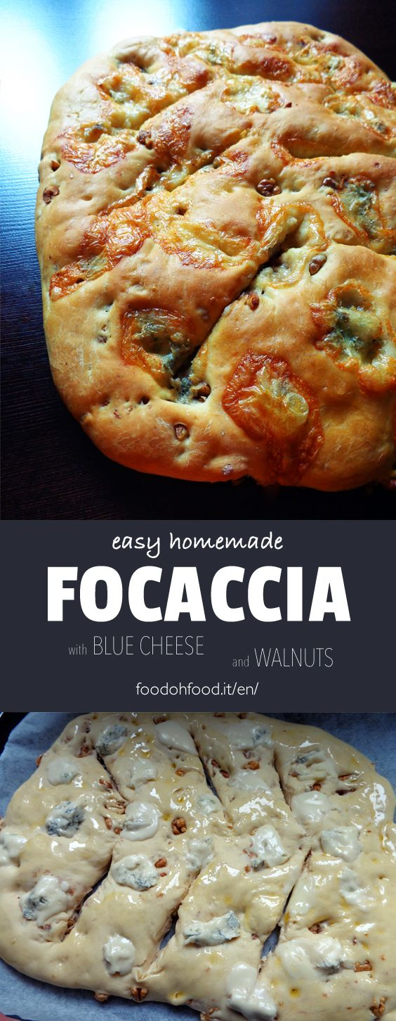 Fougasse - focaccia with blue cheese and walnuts. It can be simple without the garnish or prepared with the addition of blue cheese, nuts, olives or anchovy. Soft inside andfull of flavour.