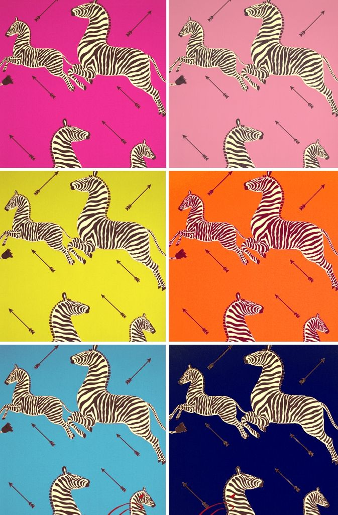 Ordinarily, I don't approve of hunting, but none of these zebras appears to be in any real danger.  Having established that, I love this wallpaper design.