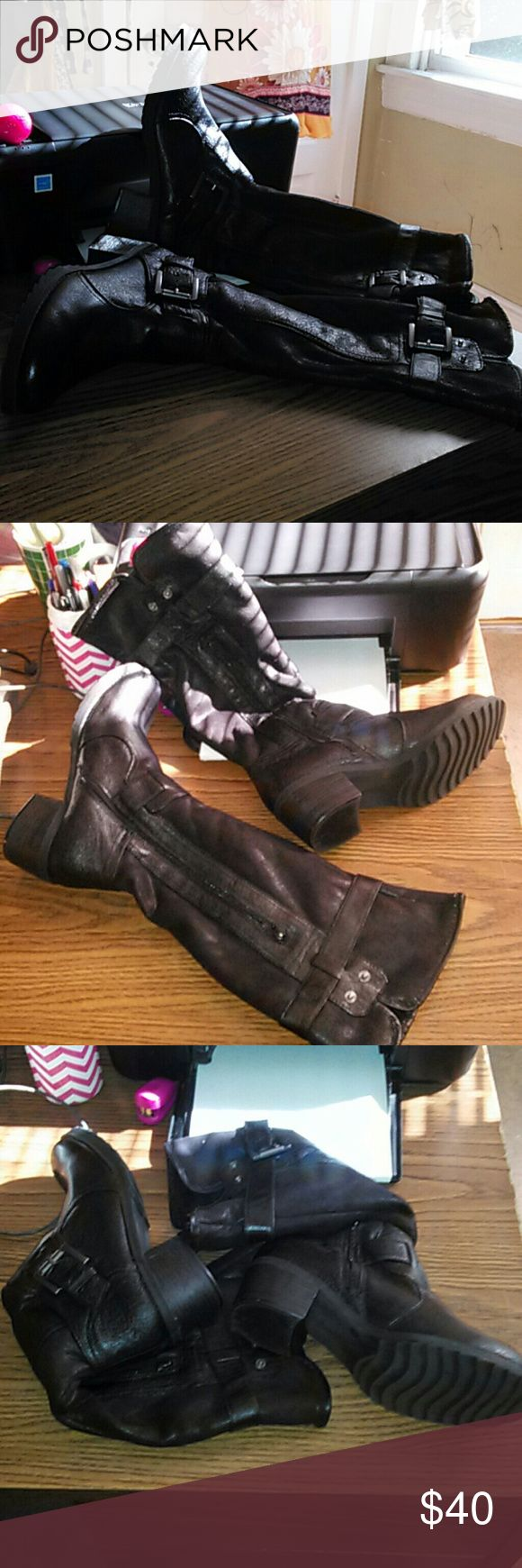 bear claw women's black rustic look boots Women's Black bear claw rustic look boots worn once great used condition soft material no holes no tears no rips gun metal hardware. Bear claw Shoes Heeled Boots