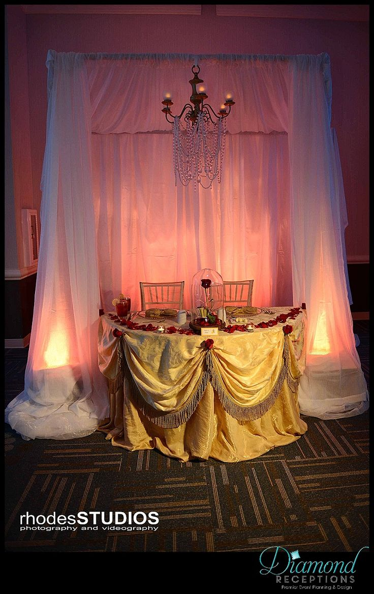 Beauty and the Beast inspired sweetheart table. www.diamondreceptions.com