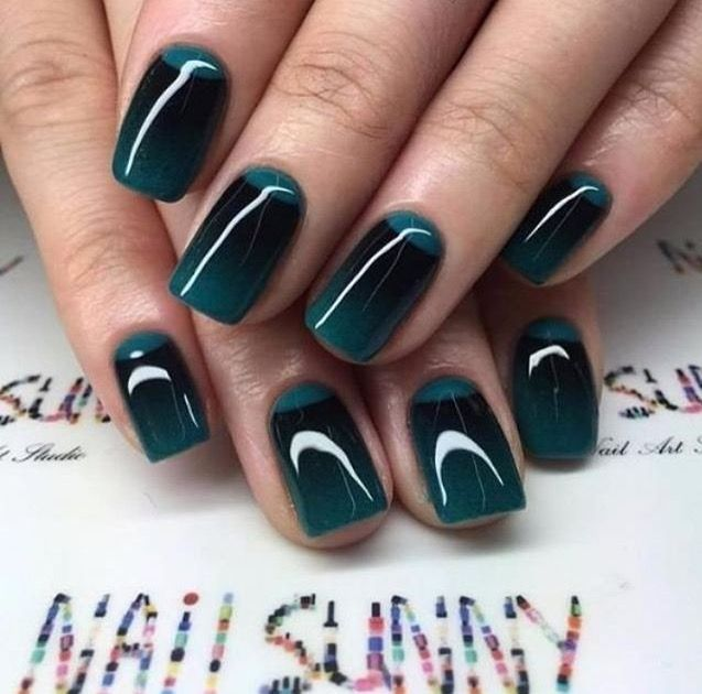 Green and black nails