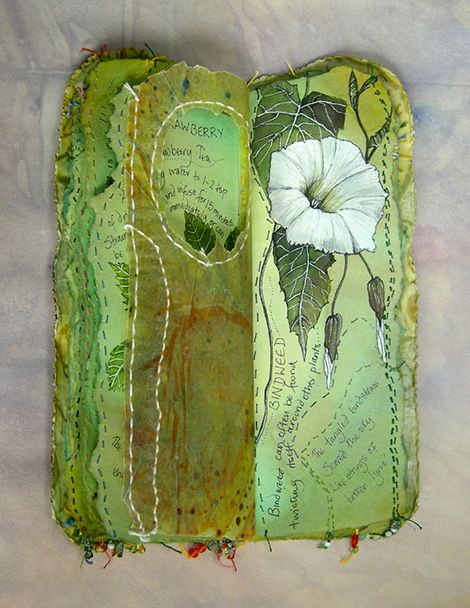 'Wildflowers/Weeds' journal spread with illustration and stitch (click to enlarge)
