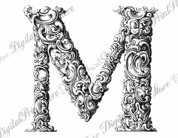 Monogram Vintage Floral Alphabet Chalkboard Letter M 002 Initial 4 Jpg-Png Transparent Black-White Embroidery Pattern Commercial Use by DigitalPrintStore on Etsy