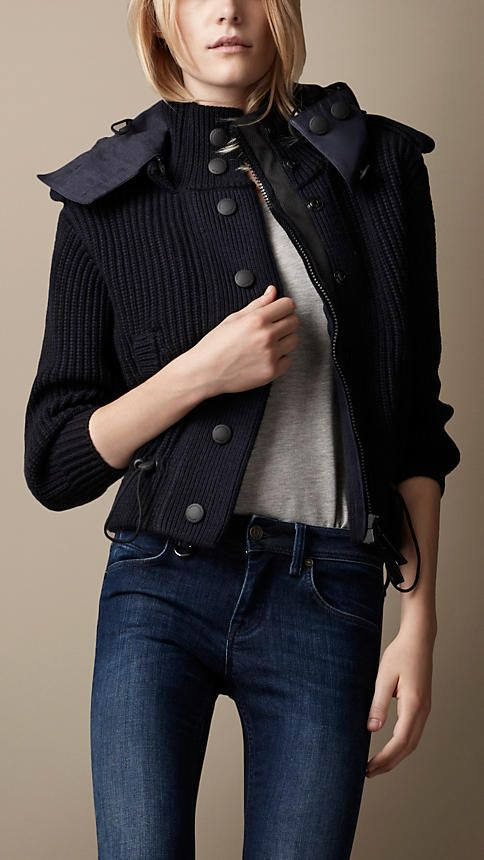 Burberry Brit Sport Collection Hooded Knitted Jacket