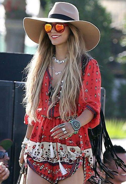 ~4/13 #ヴァネッサ・ハジェンズ #Coachella #ロンパース #ワイドブリムハット|海外セレブ最新画像・私服ファッション・… |Ameba (アメーバ)