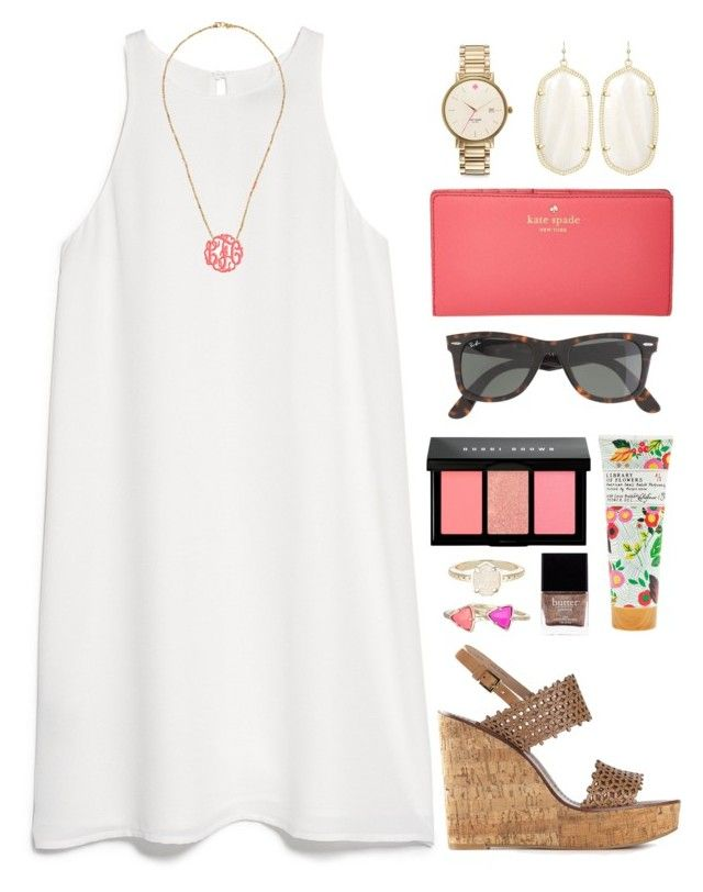 """coral monogram"" by okieprep ❤ liked on Polyvore featuring MANGO, Chan Luu, Kate Spade, Tory Burch, Library of Flowers, Ray-Ban, Bobbi Brown Cosmetics, Butter London and Kendra Scott"