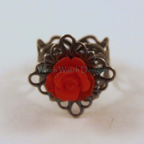 Frosted Red Rose Vintage Style Ring - Which Watch Designs. Perfect for your Holiday parties!