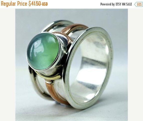 IN vendita 15% di sconto avventurina verde e argento classico anello di nativi americani gioielli - tribali gioielli - gioielli etnici - gioielli in pietre dure - - In