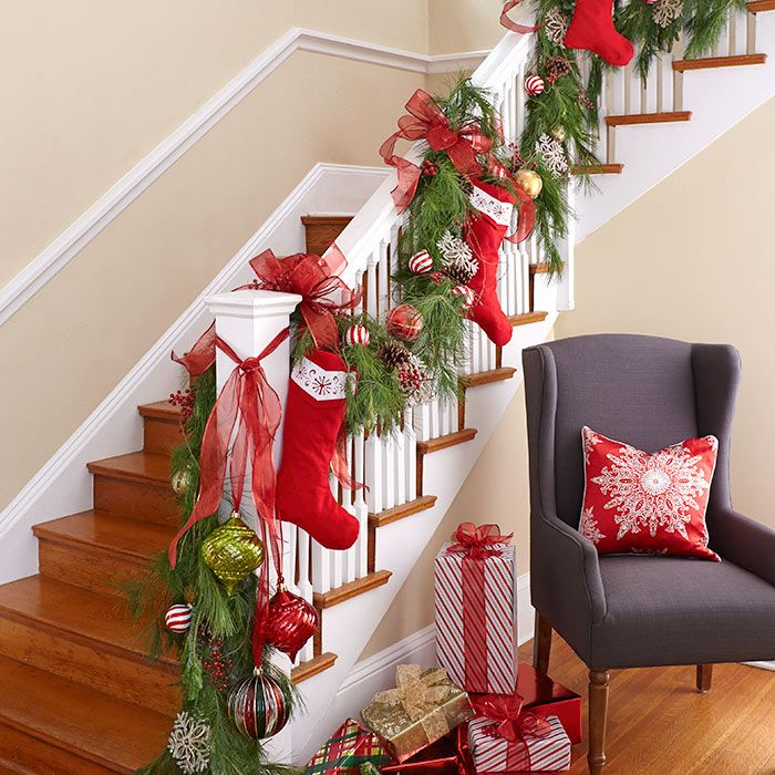 railing adorned with fresh garlands ornaments and