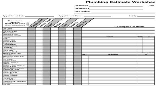 Plumbing estimate construction worksheet the book modern for Plumbing material spreadsheet