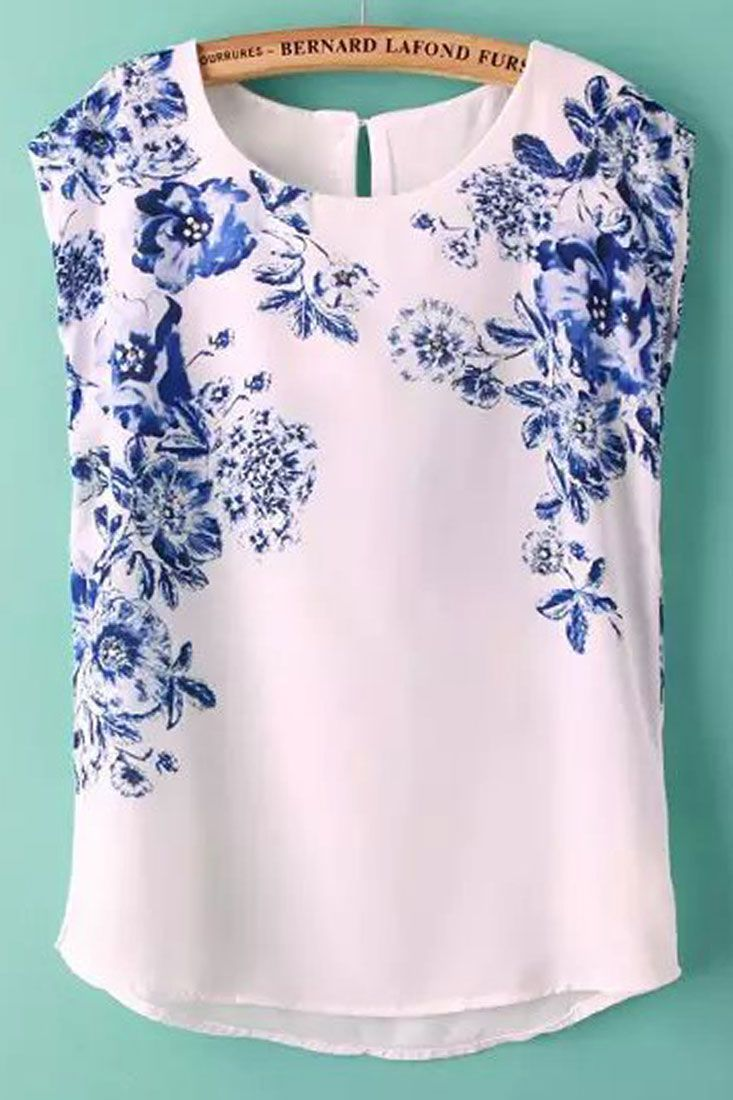 Graceful Floral Print Sleeveless Blouse - OASAP.com