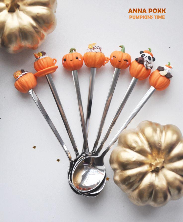 полимерная глина, тыква, вкусные ложки, анна покк, polymer clay, pumpkin, anna pokk, hand made, autumn