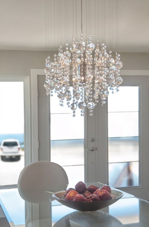 contemporary entryway with elegant lighting galaxy 6 light semi flush mount french doors chandelier glass dining table - Flush Mount Light Over Dining Table