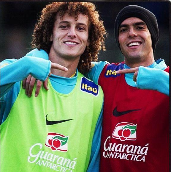 Kaka and David Luiz  In Brazil's national football team