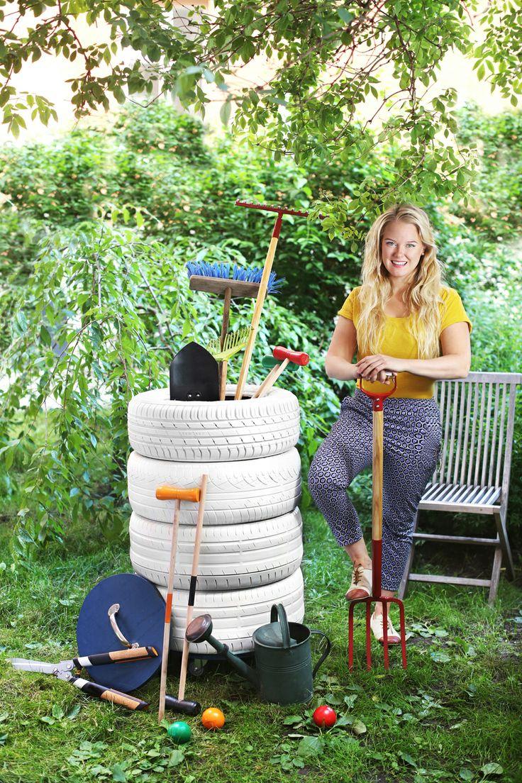 Gamla bildäck blir smart förvaring i trädgården. Se hur vår bloggare gjorde – steg för steg.
