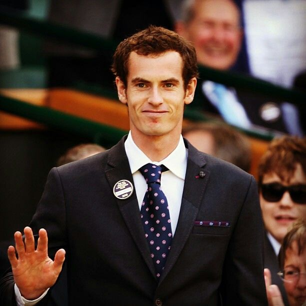 Andy Murray, suited-up during presentation of TeamGB Olympic Gold Medalists, as special-guests (Wimbledon 2013).