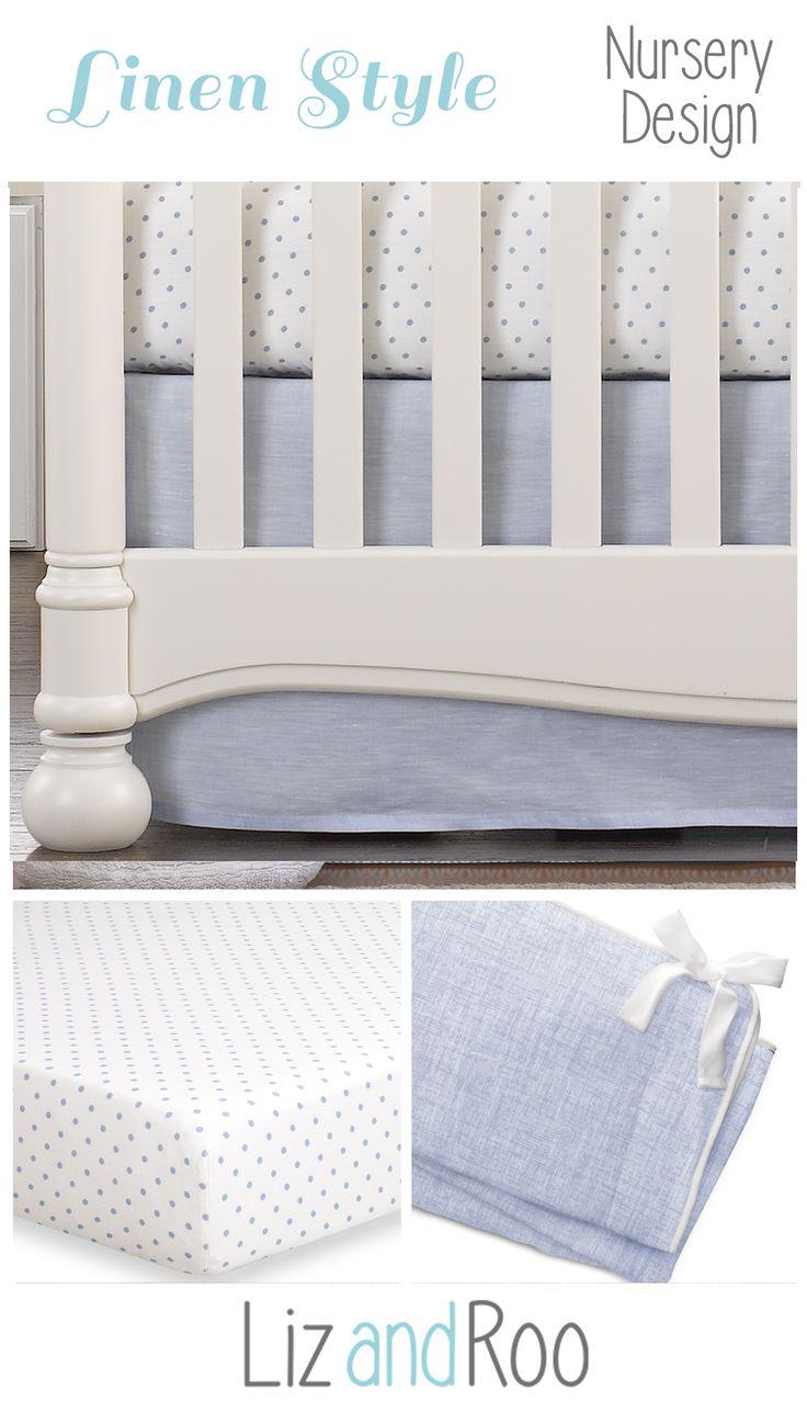 Beautiful Crib Bedding | Light Blue Nursery | Light Blue Baby Bedding |  Linen Crib Skirt