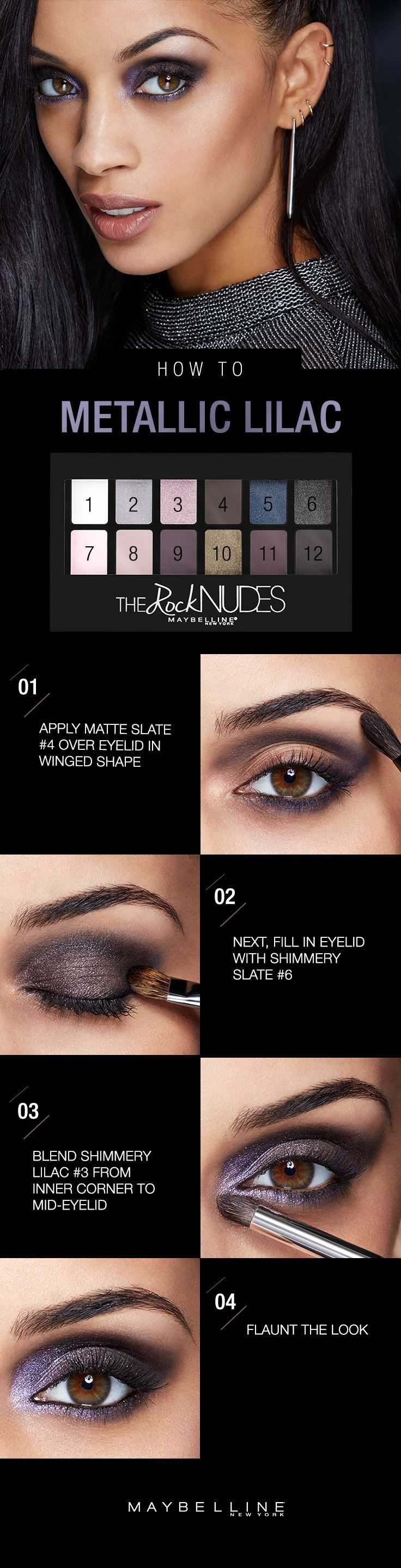 Feeling dark and daring this winter? Take this metallic smoky eye with a pretty amethyst shine and run with it. Grab your Maybelline Rock Nudes eyeshadow palette and apply the matte slate shade from inner to outer corner of eyelid, forming a wing shape. Smudge with brush to smoke out your wing, then fill in your eyelid with shimmery slate before blending it all in with shimmery lilac from your inner corners to mid-eyelid. Oh yeah. You're a badass. Click for the full step-by-step!