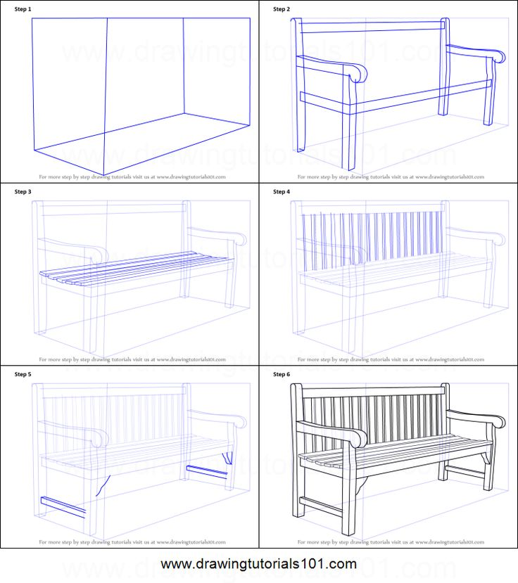 How to Draw a Bench printable step by step drawing sheet : DrawingTutorials101.com
