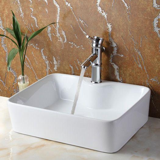 Found it at AllModern - Ceramic Rectangular Vessel Bathroom Sink