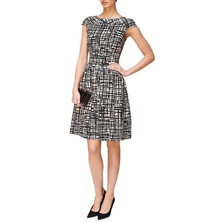 Buy Jaeger Abstract Print Dress, Pale Pink online at John Lewis