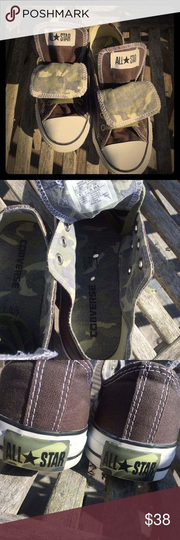 Camouflage Converse Camo Converse Size 8women/6men. Only worn a couple times, excellent condition. These are just the most awesome Chucks, It hurts to sell but they are too big for me. If anyone has this same pair in a size 7 I will happily trade. Converse Shoes Sneakers