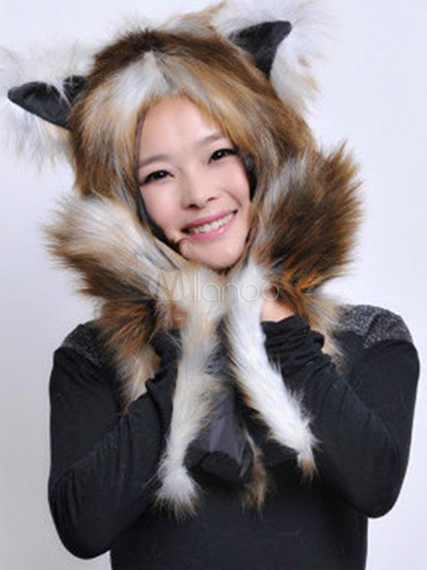 f04cfe1d4c7d3 Faux Fur Hats White Animal Ears Hood Winter Fluffy Mitten Scarf Paws   White