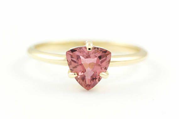 Tourmaline Trillion Ring, Engagement Gold Ring, Pink Tourmaline Gold Ring, Tourmaline Prong Ring, Trillion Ring, 14K Solid Gold Ring, GR0459