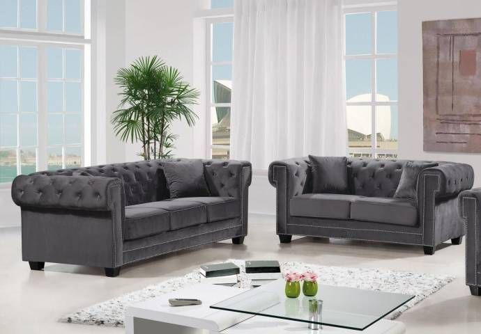 Surprising Meridian Furniture 614 Bowery Sofa Loveseat Set 2 Pcs In Alphanode Cool Chair Designs And Ideas Alphanodeonline