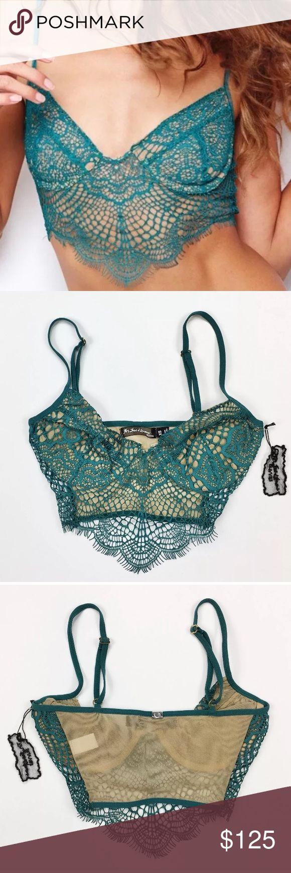 "NWT XS For Love and Lemons Jade Bat Your Lashes Brand New With Tags For Love and Lemons ""Bat Your Lashes"" Bra Size: X-Small Please note this bra runs smaller than true to size in the band. Will fit a size 30 band and an A cup. Adjustable shoulder straps. Mesh stretchy back to conform to your body shape. This is a pull on bra.  