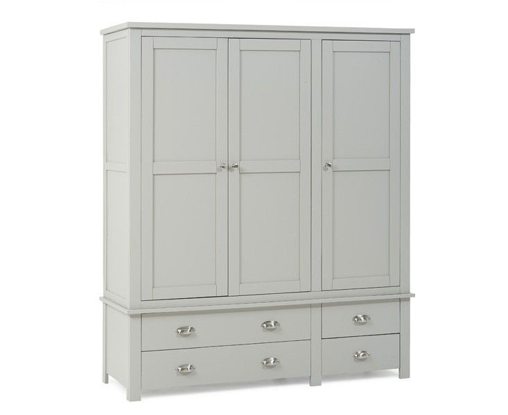 Saddington Triple Wardrobe All Grey  The 3 door wardrobe is total with 4 reduce drawers that offer extra storage and function sleek metal handles.  https://www.bonsoni.com/saddington-triple-wardrobe-all-grey