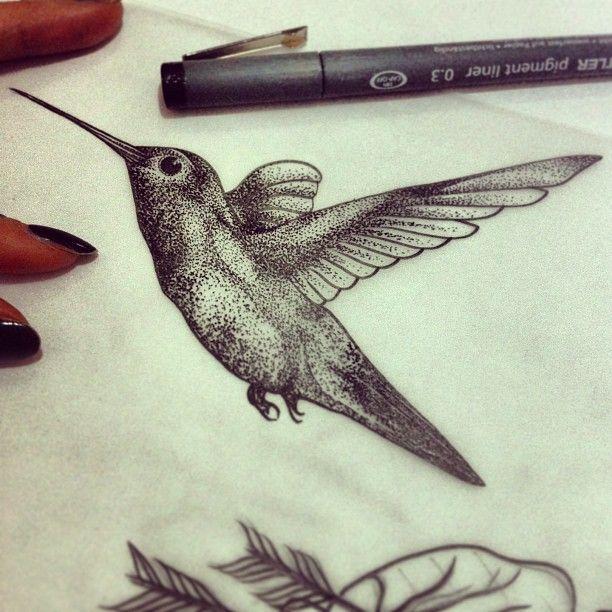 Hummingbird tattoo sketch