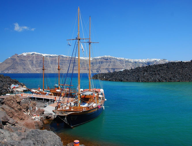 Take a day tour to the Volcano and the Hot Springs. Santorini, Greece