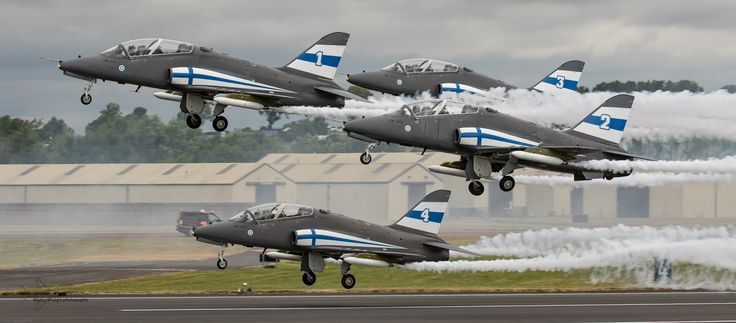 https://flic.kr/p/21R5n6Y | Finnish Air Force - Midnight Hawks display team. | Rotating from the main at RAF Fairford to perform during the Royal International Air Tattoo 2017 is the Finnish Air Force Midnight Hawks display team. The team fly the BAE Hawk MK5 variant of this popular and successful ageing airframe.