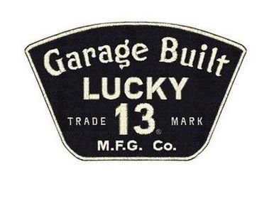 LUCKY 13 GARAGE 13 GREASE GAS BIKER TATTOO MOTORCYCLE SEW ON / IRON ON PATCH