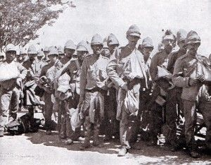 British walking wounded after the Battle of Modder River on 28th November 1899