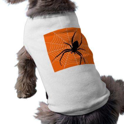 Halloween Black Spider and Web on Orange Tee - holidays diy custom design cyo holiday family