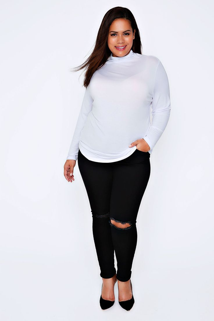 White Turtle Neck Long Sleeved Soft Touch Jersey Top