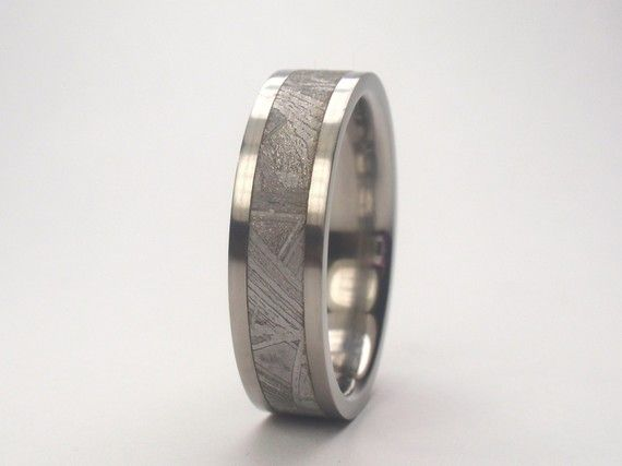 Love this Mens Titanium Wedding Band 4 mm wide Meteorite by jewelrybyjohan