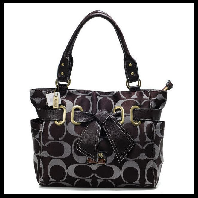 #HighQualityCoach Life Will Be Perfect With Coach Poppy Bowknot Signature Medium Coffee
