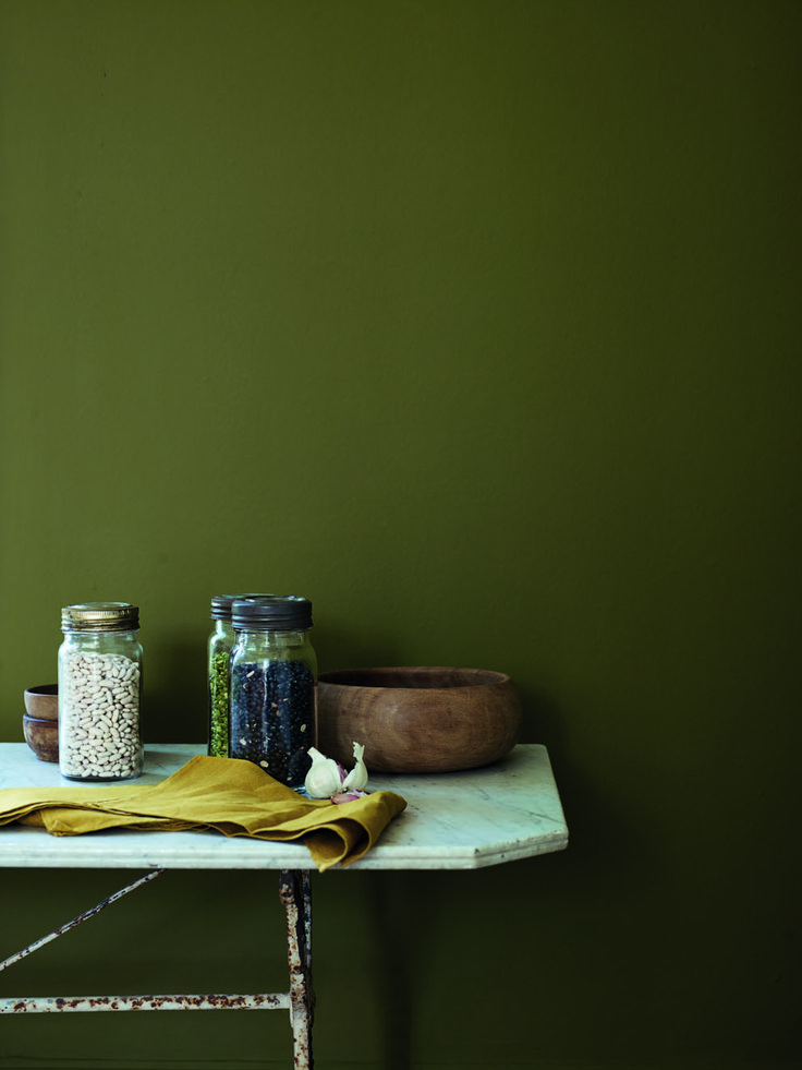 Ever thought of using an olive green? This paint colour is Wild Olive by Fired Earth
