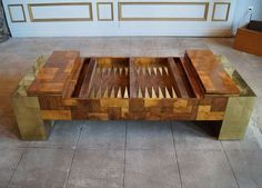 Rare Signed Paul Evans Coffee Table With A Backgammon Board | From a unique collection of antique and modern coffee and cocktail tables at http://www.1stdibs.com/furniture/tables/coffee-tables-cocktail-tables/