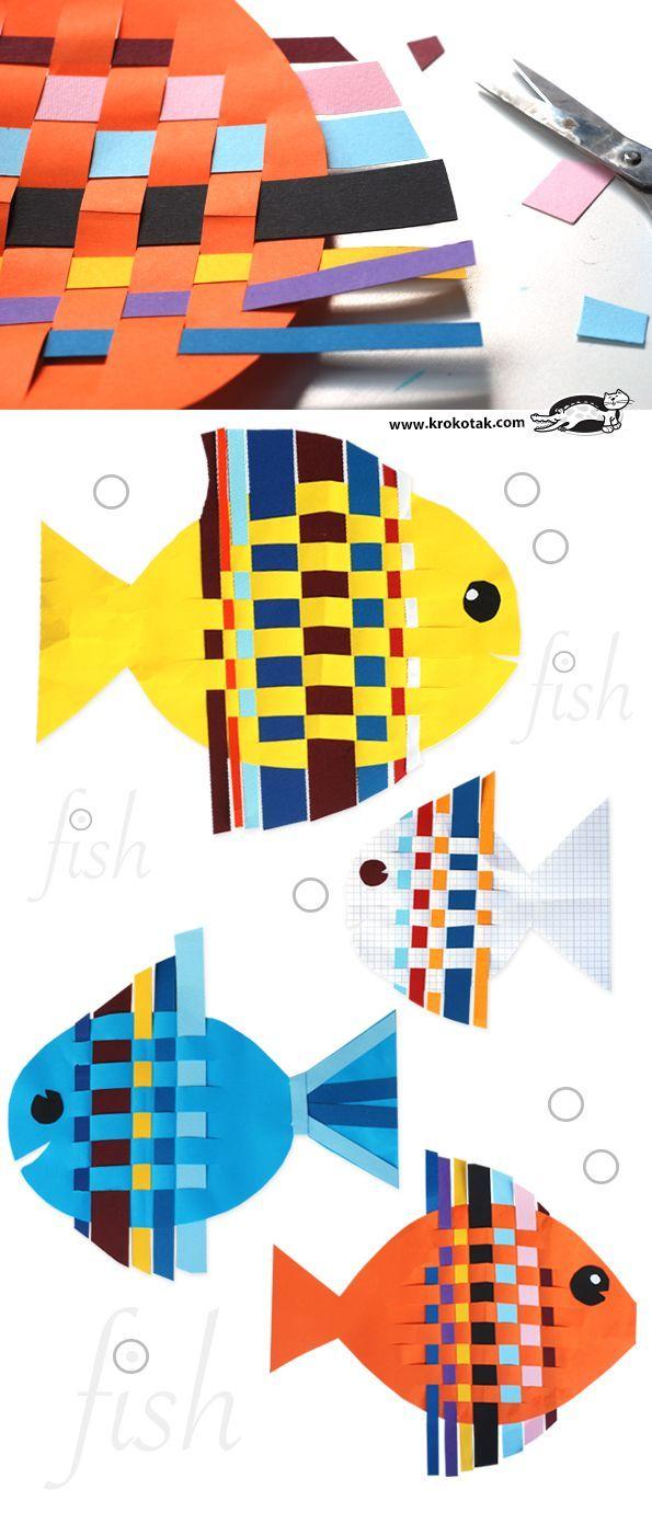 Написать на палосках буквы. Fish from Interwoven Colored Paper Strips