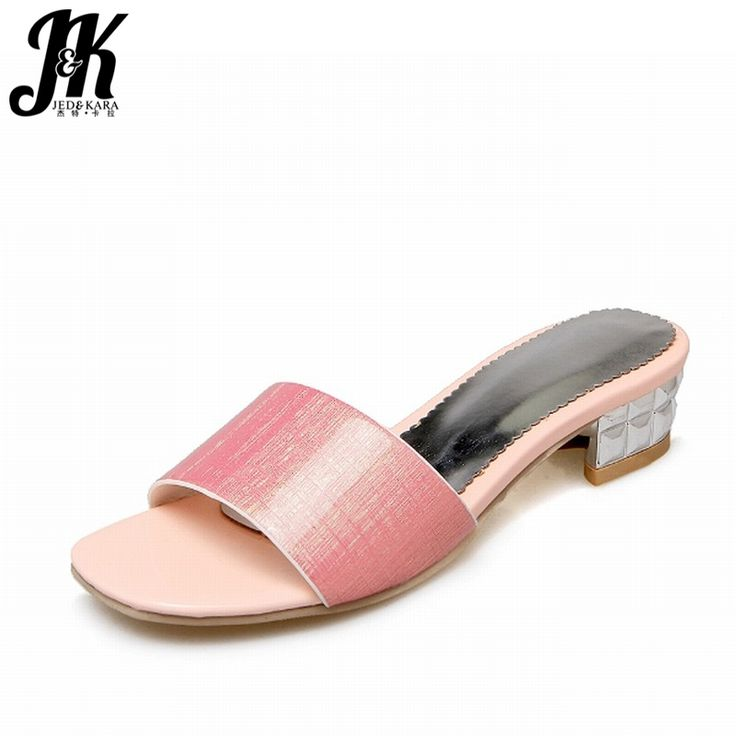 Price tracker and history of J&K 2017 Big Size Women's Outside Slippers  Casual Summer Shoes Woman Open toe Square Low Heels Slides Fashion Women  Shoes