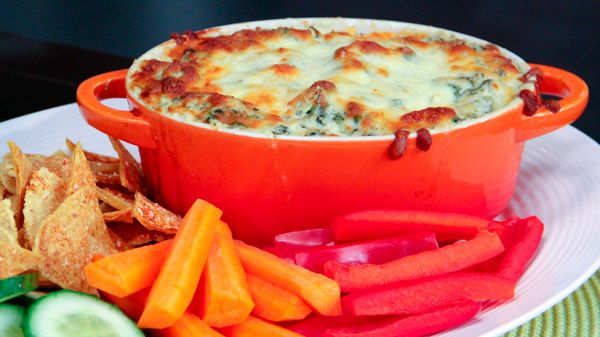 Dish Do-Over: Spinach & Artichoke Dip | Steven and Chris | A restaurant staple that's full on flavour &#8211 and also fat &#8211 Chef Jo Lusted gives spinach and artichoke dip the dish do-over treatment to create a healthier version. To keep the whole snack healthy, make sure you're dipping Jo's...
