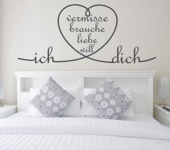 Wandtattoo Ich Vermisse Brauche Liebe Will Dich Perfekte Dekoration Fur Das Schlafzimmer Verschiedene Grossen Und Haus Deko Wandspruche Schlafzimmer Wand
