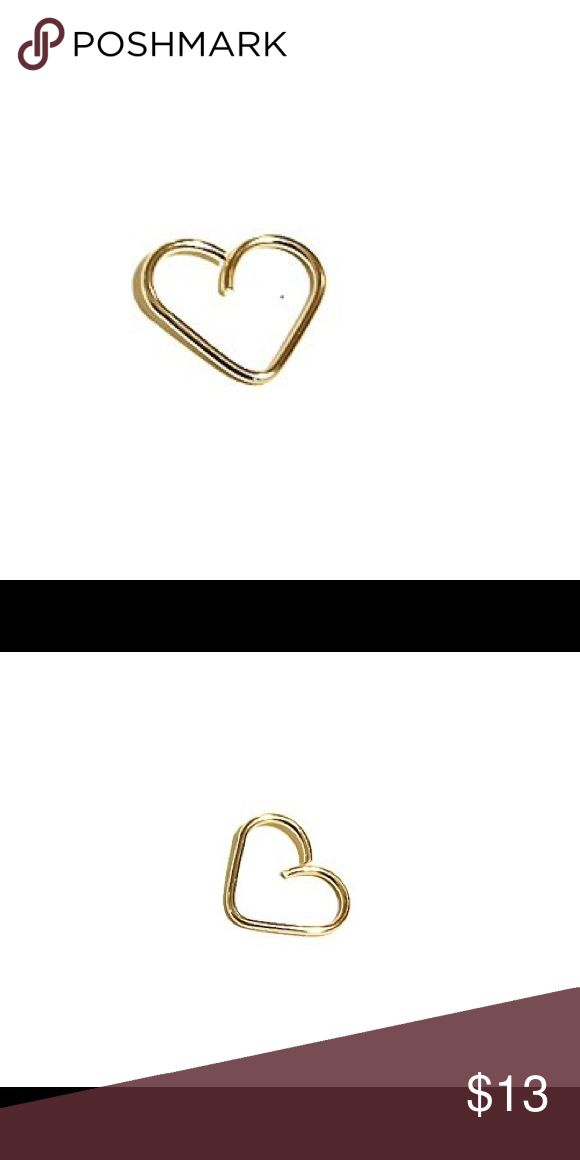 Gold Heart Cartilage Hoop Earring Daith Ring A single heart shaped Cartilage Hoop made of 14k yellow gold filled. Available in four different gauges; 20, 19, 18, or 16 gauge. The ends are both fine finished and they are polished to a nice shiny finish. new england jewelry designs Jewelry Earrings
