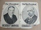 Original 1928 Herbert Hoover for President, Charles Curtis Vice President Poster - 1928, Charles, Curtis, Herbert, HOOVER, ORIGINAL, Poster, PRESIDENT, Vice