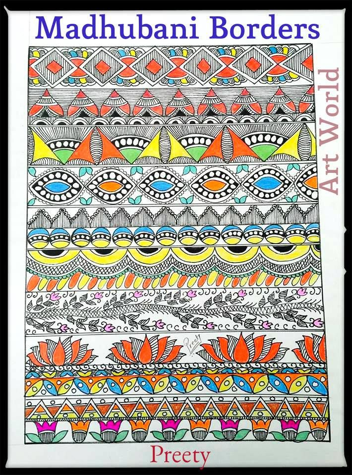 How to draw madhubani design2238