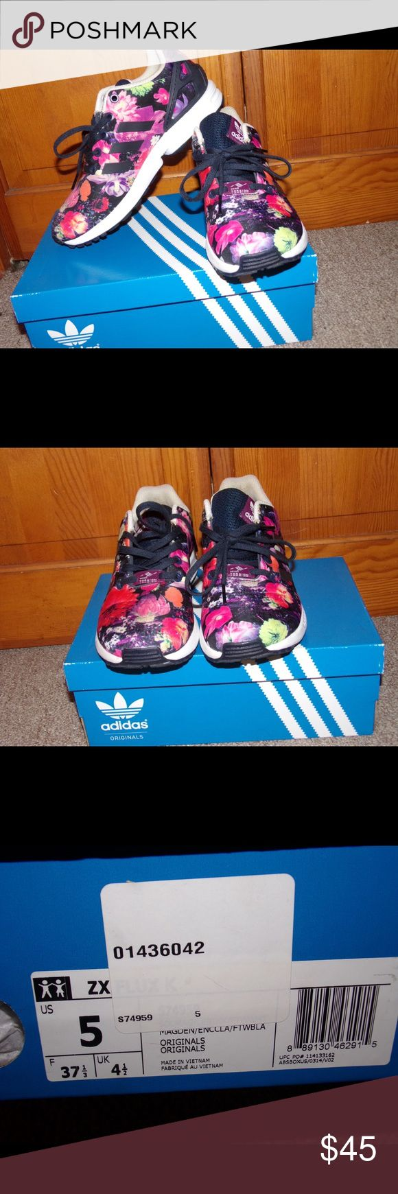 Adidas ZX Flux Floral print adidas classics Worn 3 times  In perfect condition adidas Shoes Sneakers